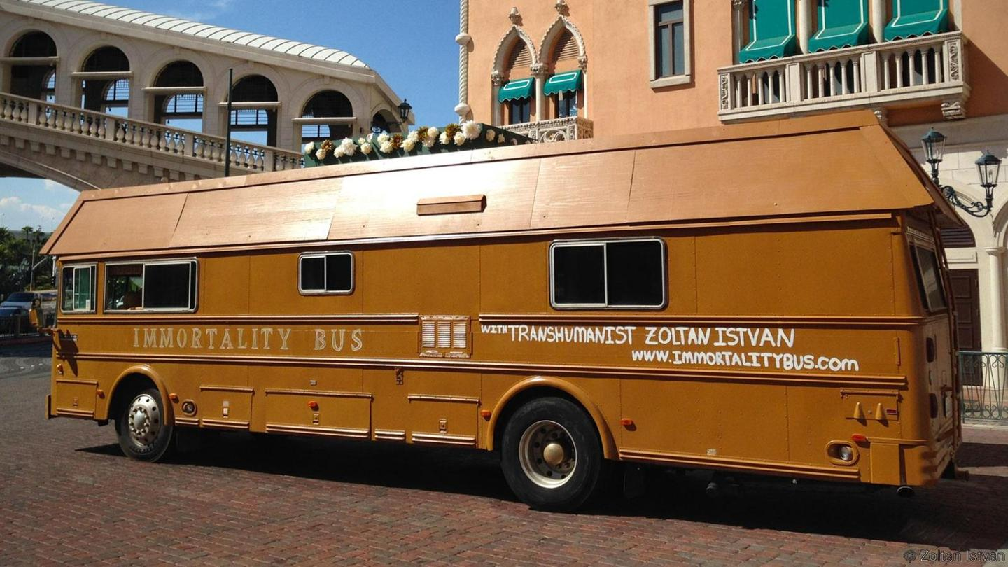 As part of his 2016 Presidential campaign Zoltan Istvan traveled through the United States in a bus shaped like a coffin