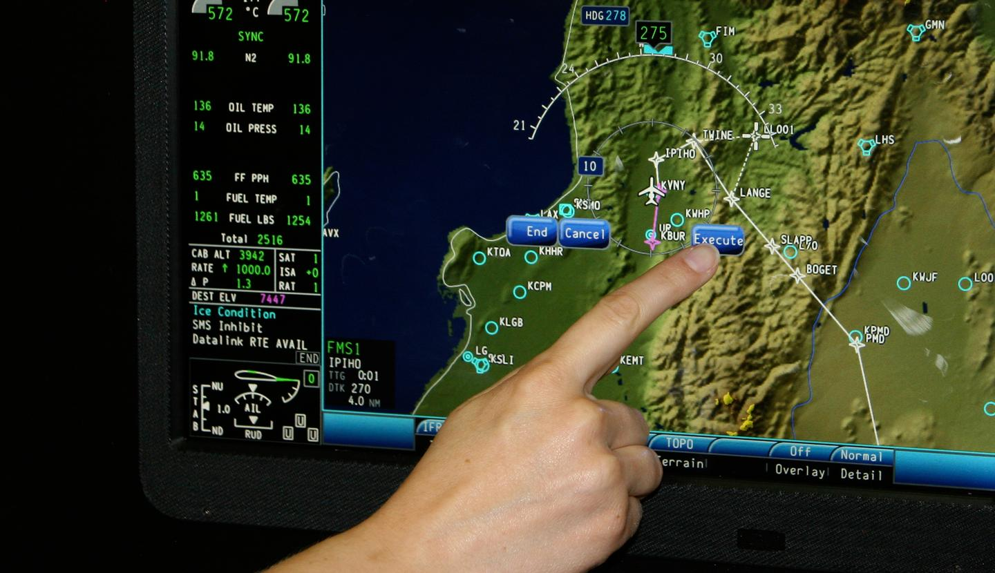 Rockwell Collins touch-control primary flight display (PFD)