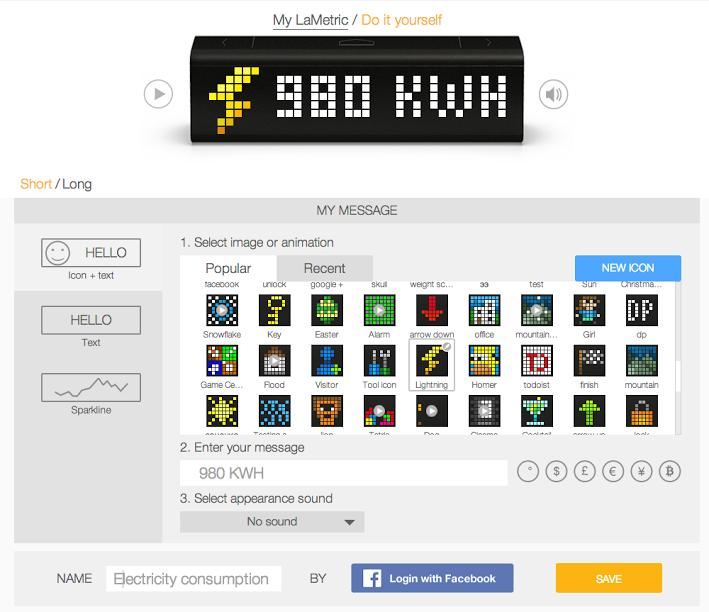 The mobile app lets you customize LaMetric to your heart's content