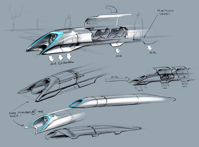 Design sketches of Elon Musk's proposed Hyperloop high-speed tube transport system