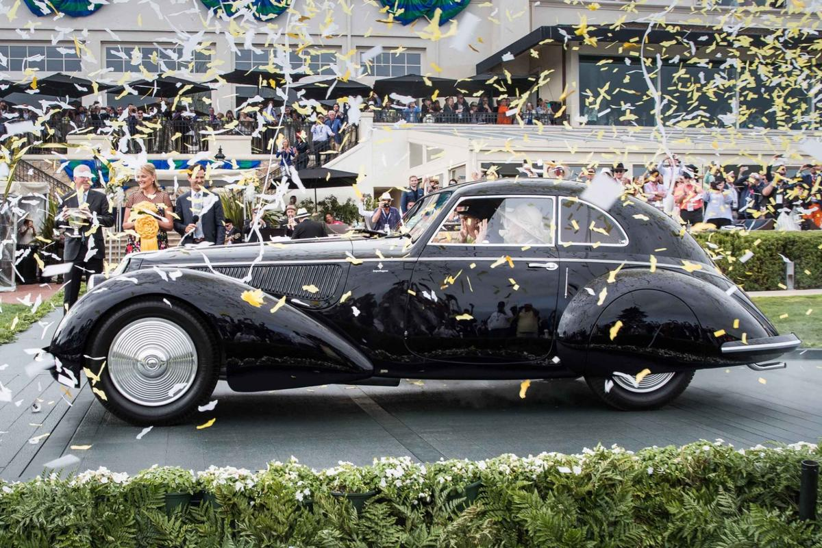 The Best In Show Award at the 2018 Pebble Beach Concours d'Elegance was won by this 1937 Alfa Romeo 8C 2900B Touring Berlinetta owned by David and Ginny Sydorick.