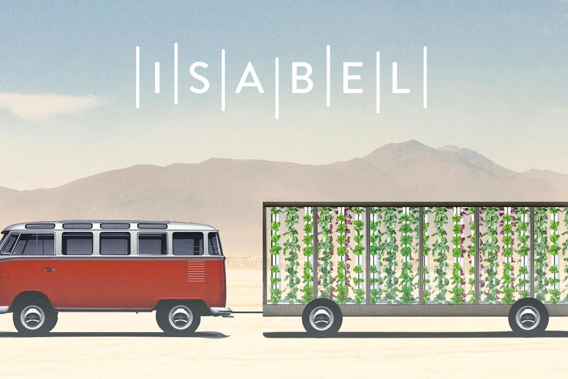Inside an Airstream trailer fitted with plexiglass, vertical stacks will be used to grow crops, including kale, tomatoes and cucumber