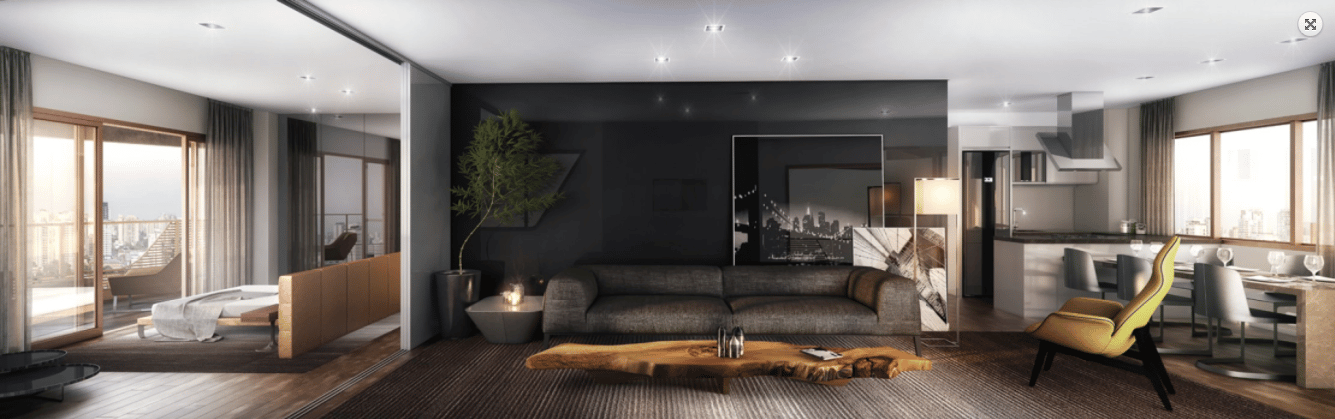 Interior rendering of Pininfarina's recently completed Cyrela apartment tower in Brazil