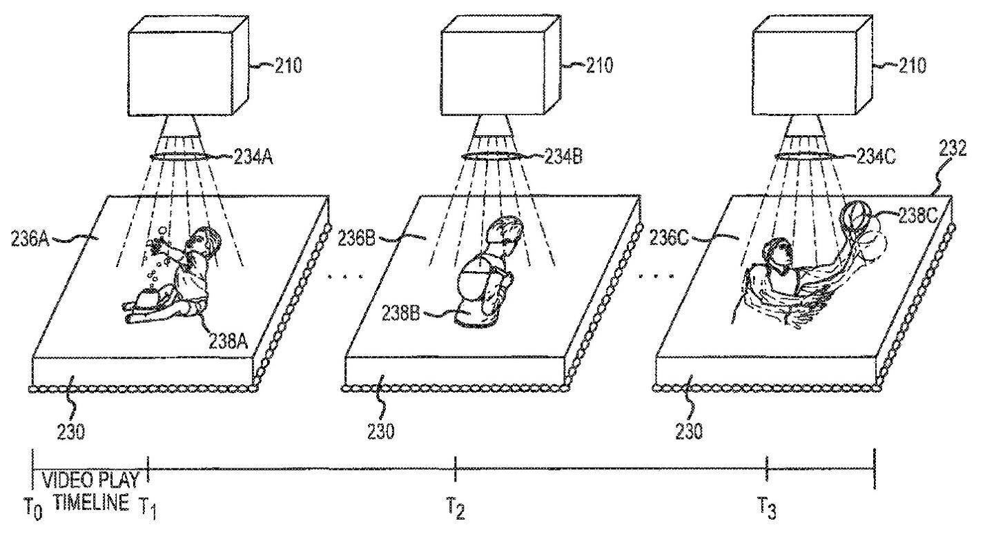 The patent describes playing a montage of photos or video clips like an edible picture frame