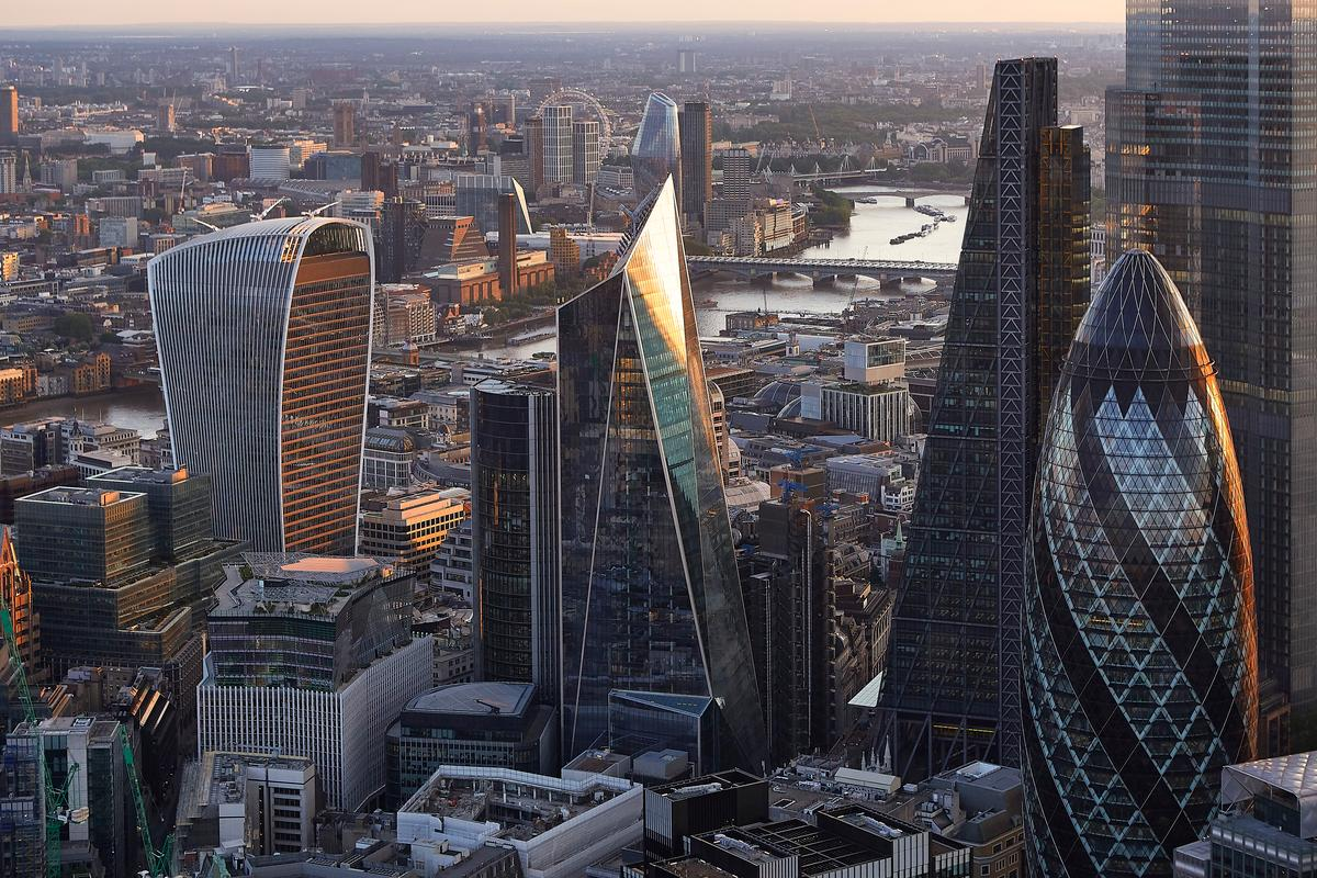 The Scalpel, center, is part of the cluster of buildings in the City of London that include the Cheesegrater, Walkie-Talkie, Can of Ham, and the Gherkin
