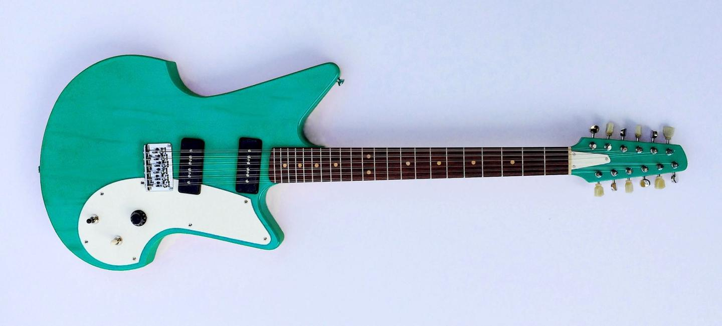 "The upper main 12-string body of the Flux Guitar in ""Bowie Blue"""