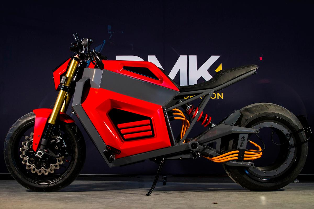 RMK has unveiled a working prototype of its E2 electric motorcycle, with hubless rear-wheel drive