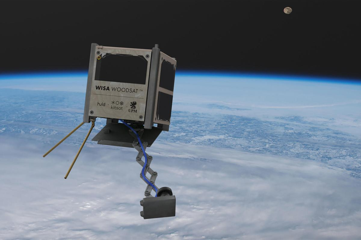 A render of the Woodsat in orbit, with selfie stick extended