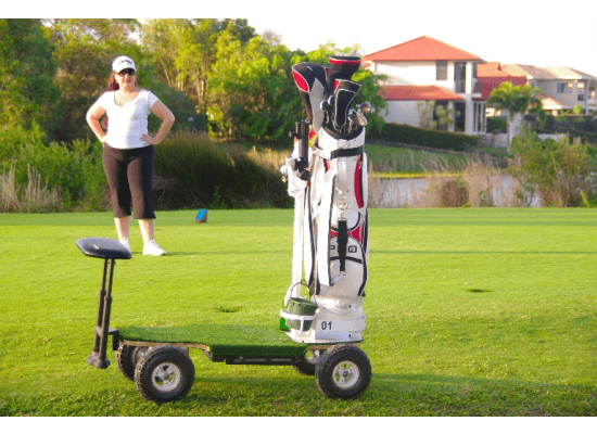 A caddy is mounted on the front of the vehicle which the company says is suitable for carrying a golf bag of up to 28 cm (11 in) in size