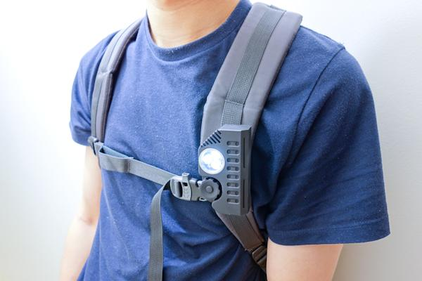 Using an optional clip mount, the Function can be attached to a backpack strap