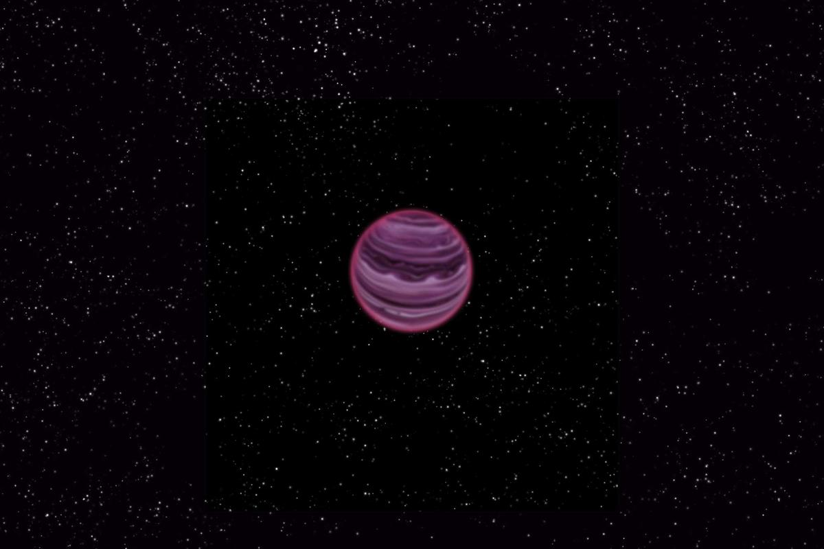 Artist's conception of exoplanet PSO J318.5-22, which was discovered floating through interstellar space without a parent star (Image: MPIA/V. Ch. Quetz