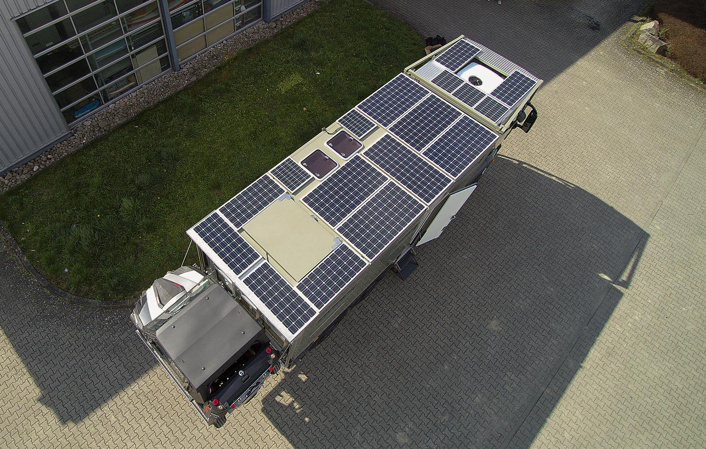 With its roof covered in panels, the Unicat MD56c offers nearly 2,000 watts of solar charging