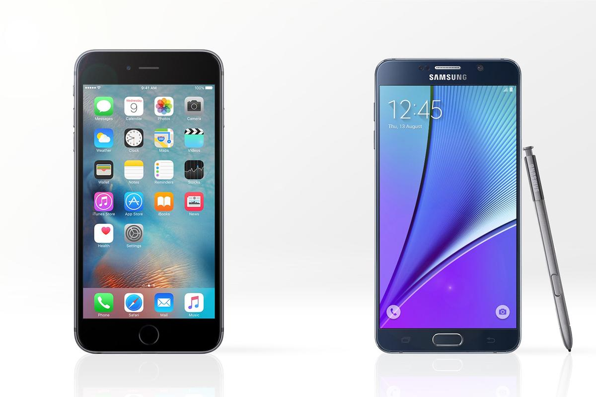 Gizmag compares the features and specs of the new iPhone 6s Plus (left) and Samsung Galaxy Note 5