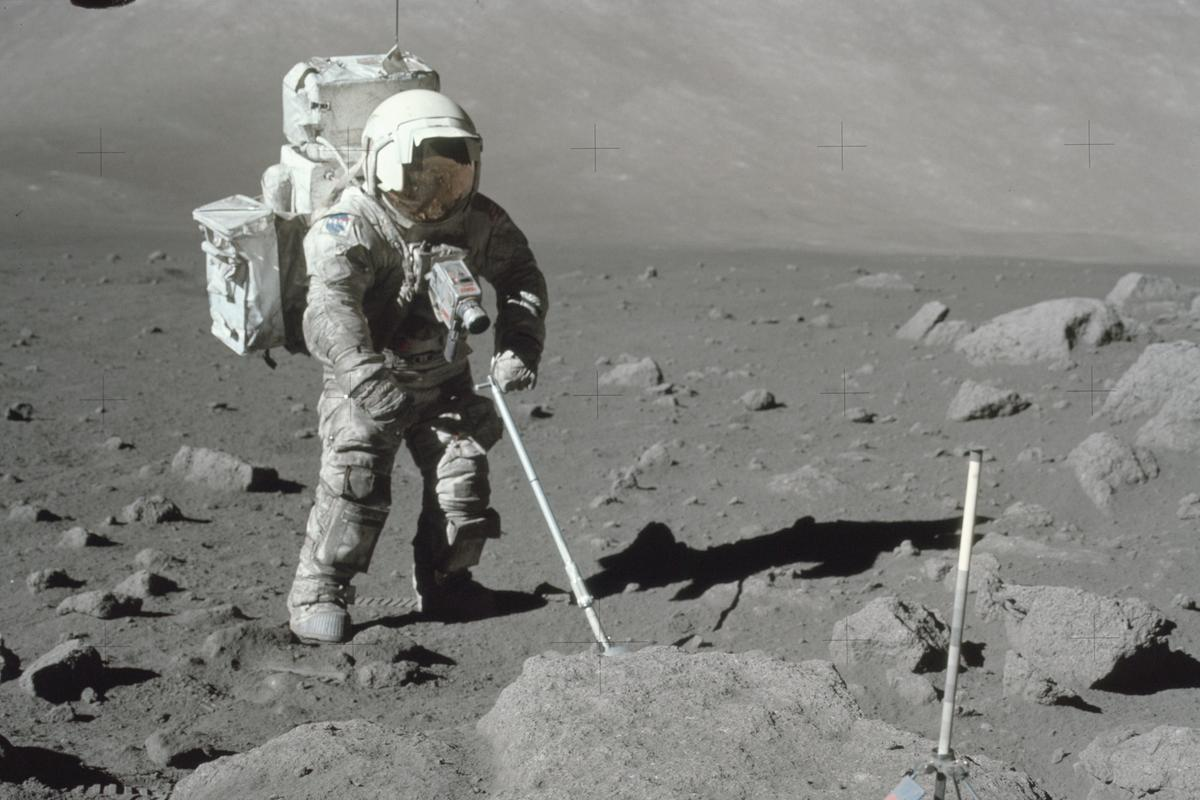 Lunar dust covering the spacesuit of an Apollo 17 astronaut