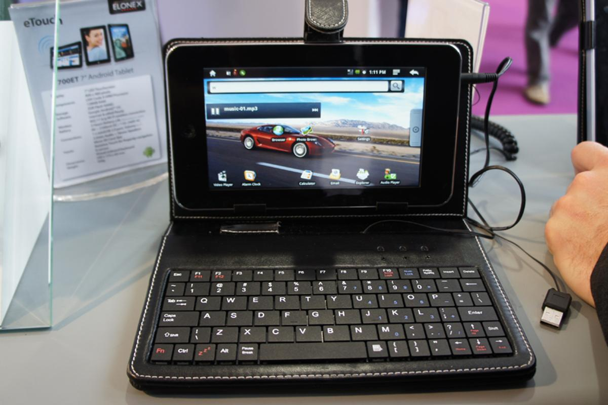 The Elonex eTouch tablet and case on display at IFA 2010