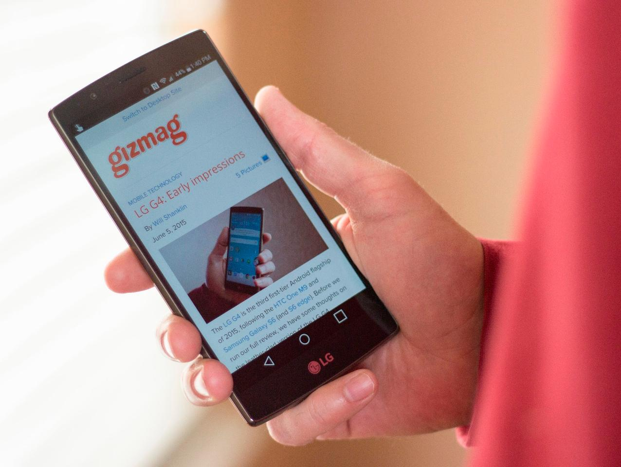 The LG G4 has a terrific display – 5.5-inches, Quad HD resolution with terrific contrast and color saturation