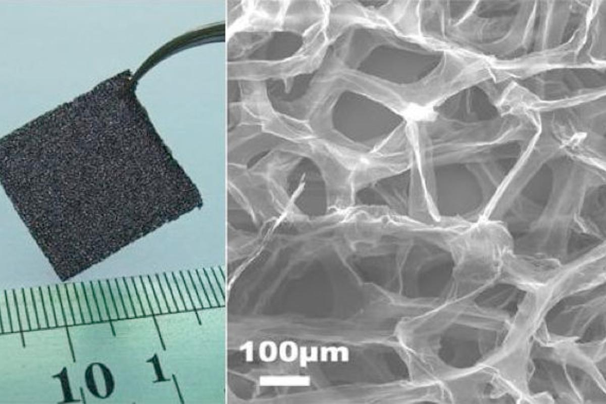 The graphene foam is macroscopic in total size (left), yet has nanoscopic internal structures (right)
