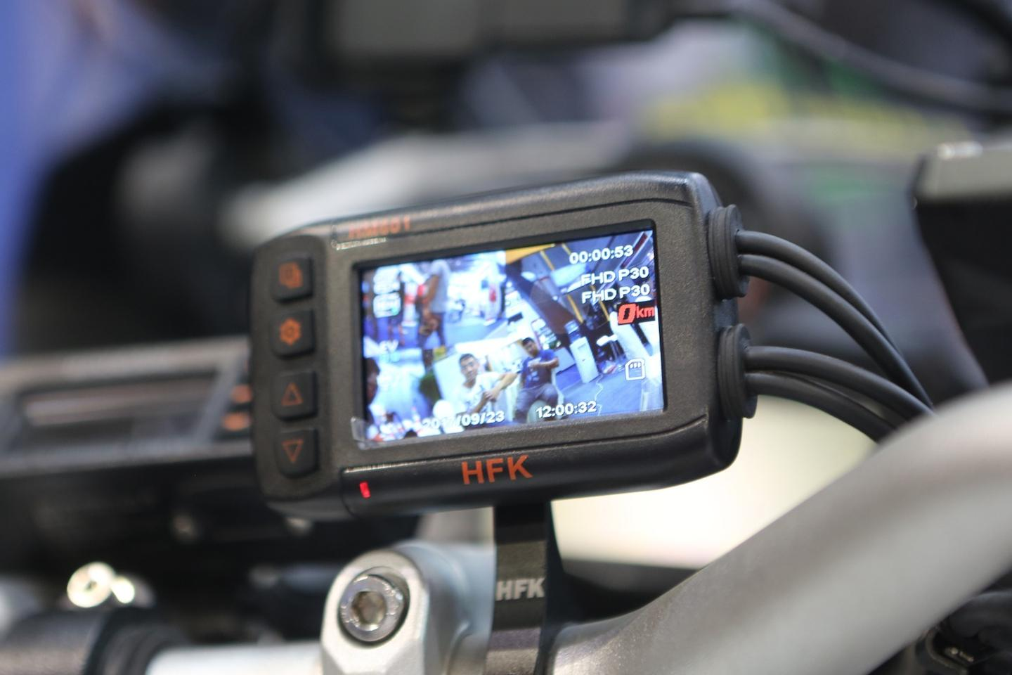 The HFK Motorcycle DVR centrepiece has a 2.7 inch high resolution liquid crystal display screen with anIP67 (water and dust) rating