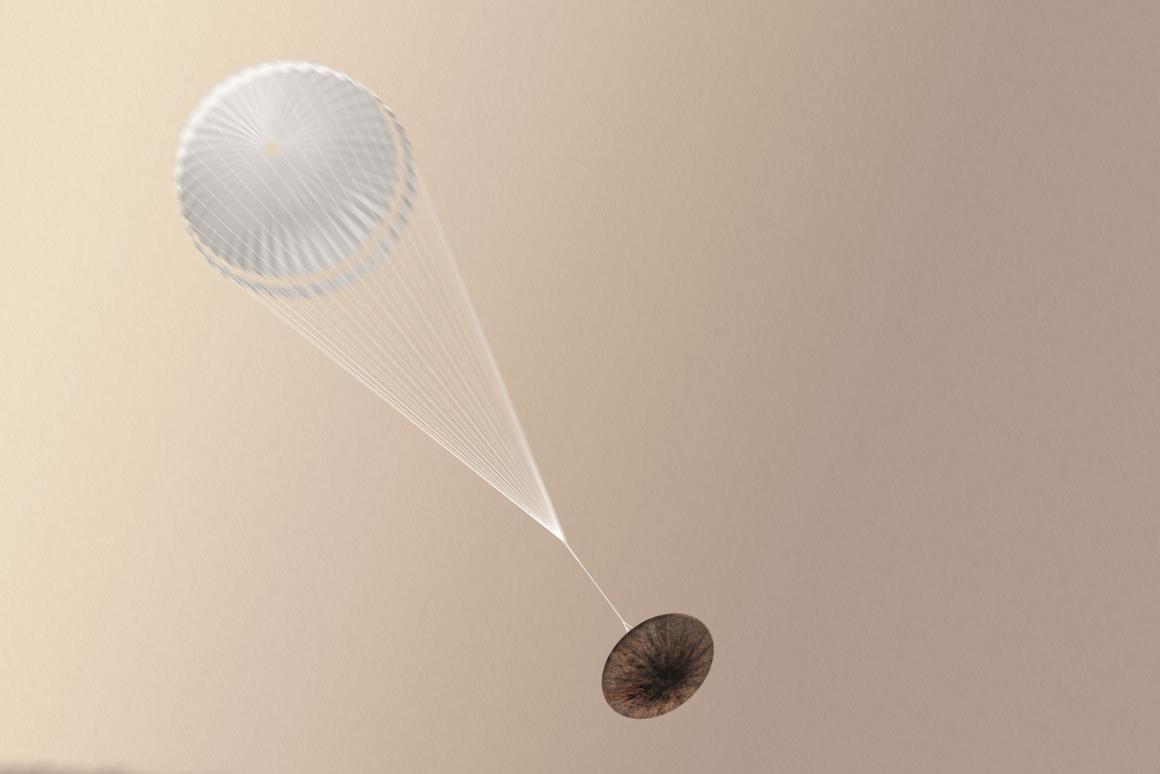 Artist's concept of Shiaparelli deploying its parachute