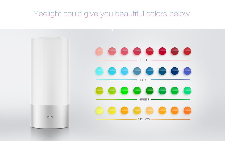 The Yeelight's extensive color palette
