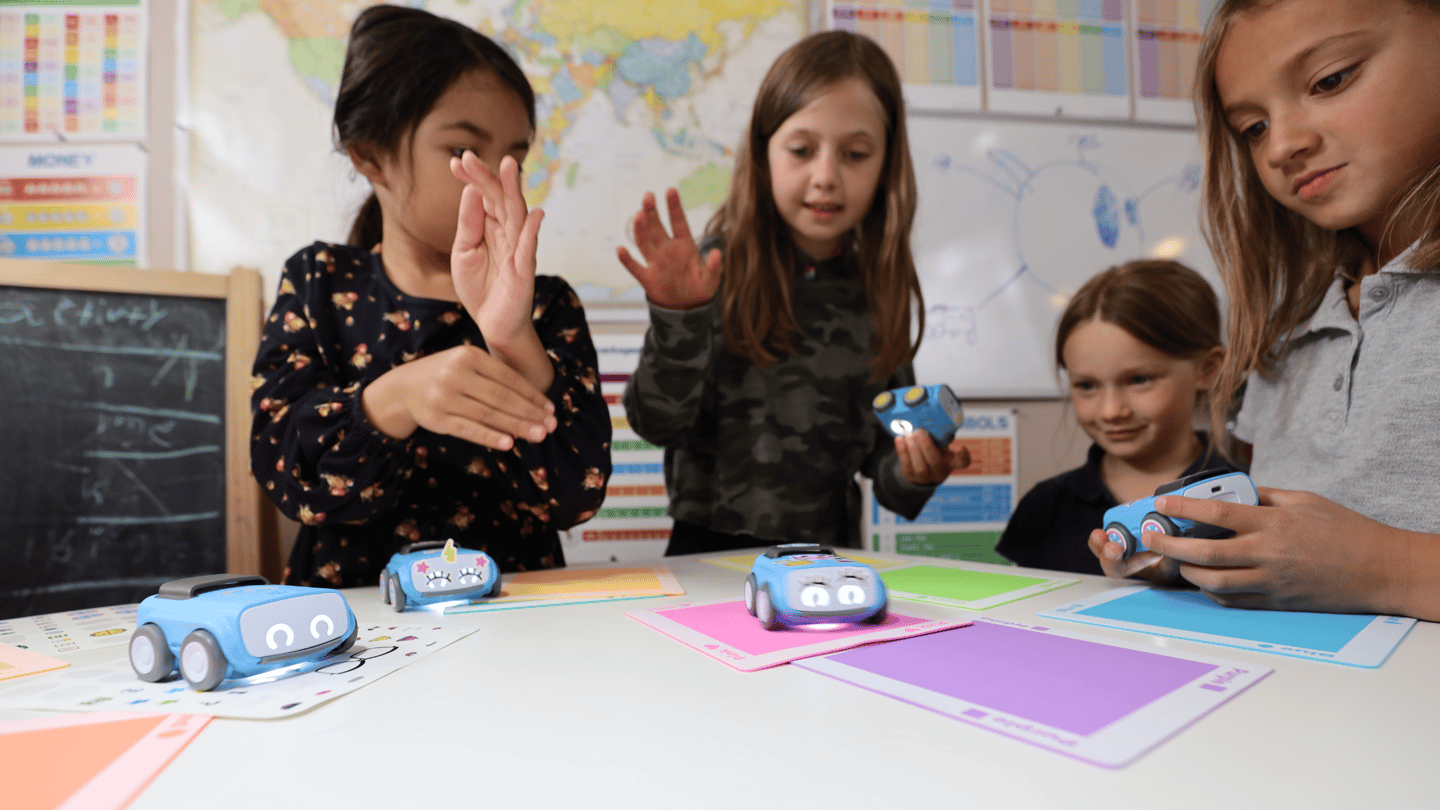 The indi robot car experience is aimed at PK-2nd Graders, and is designed to encourage critical problem solving and computational thinking