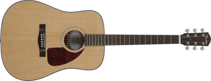 The Fender CD-140S VA travel acoustic features a solid spruce top with quartersawn X bracing, and laminated mahogany back and sides