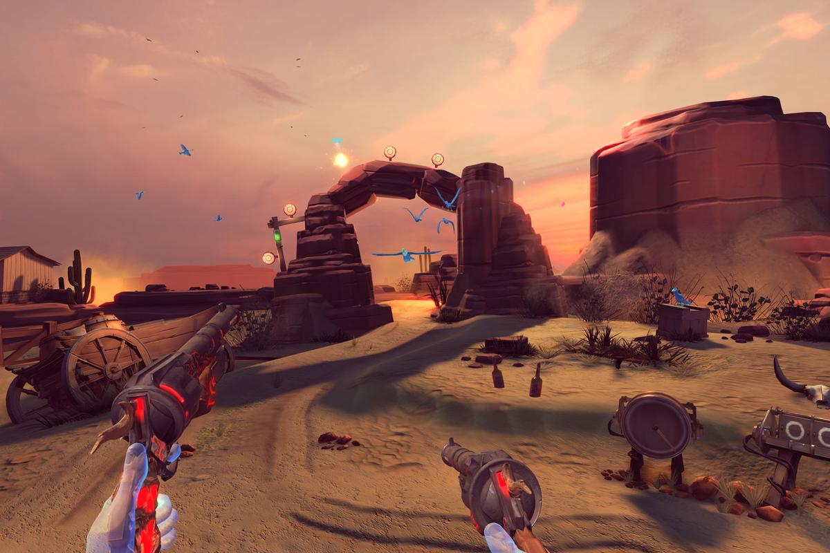 Screenshot from Dead and Buried, the first-person Western shooter VR game bundled with Oculus Touch