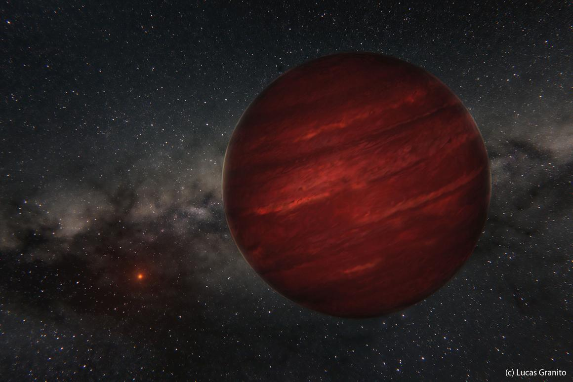 The giant exoplanet GU Psc b has an orbital period of 80,000 years (Image: Lucas Granito/Gemini Observatory)