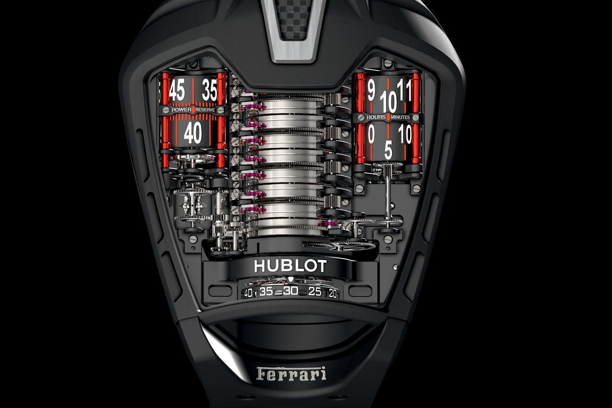 The MP-05 LaFerrari watch features a sapphire crystal face designed to resemble the outline of the Ferrari supercar