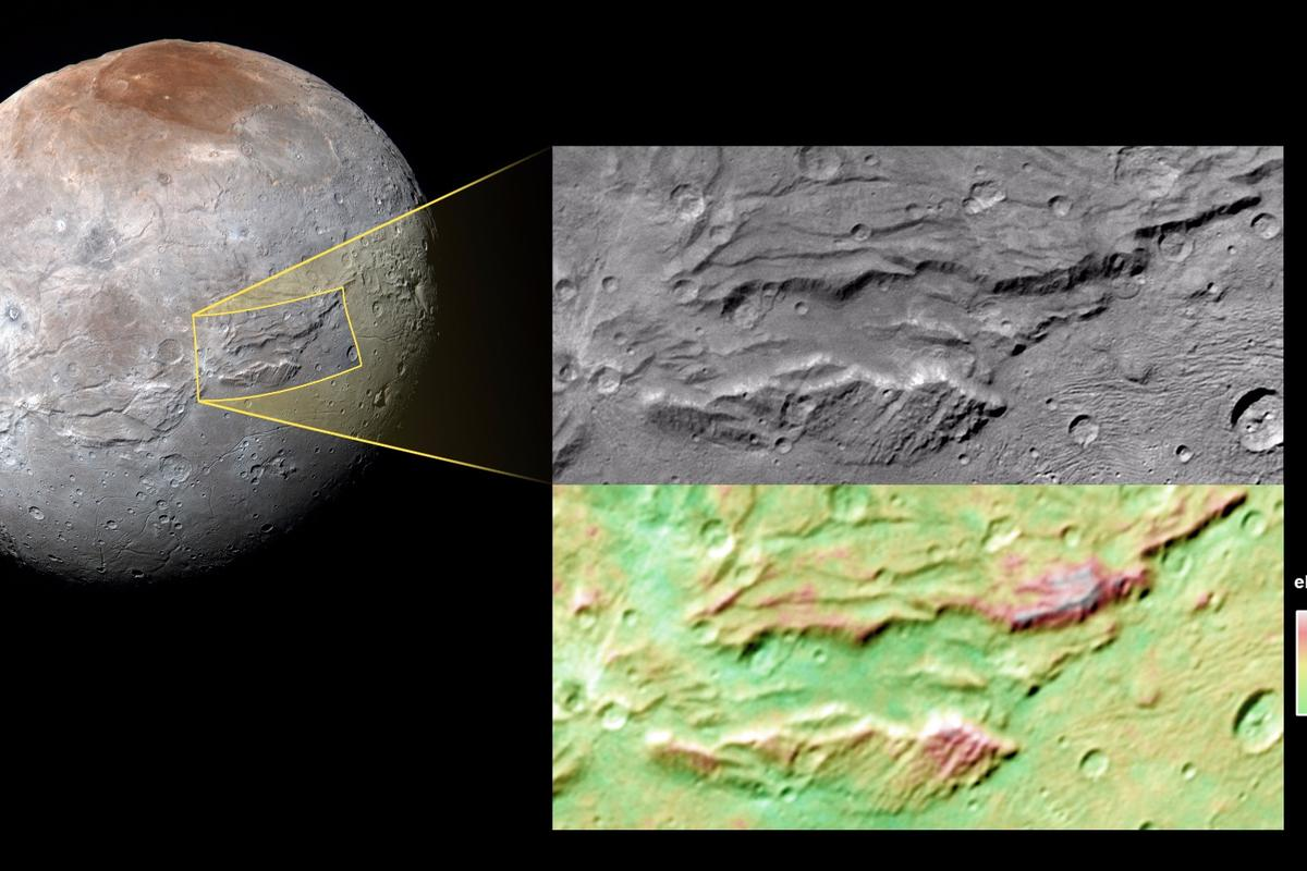 NASA image of Pluto's largest moon Charon – the vast Serenity Chasma feature dominates the image in the relief