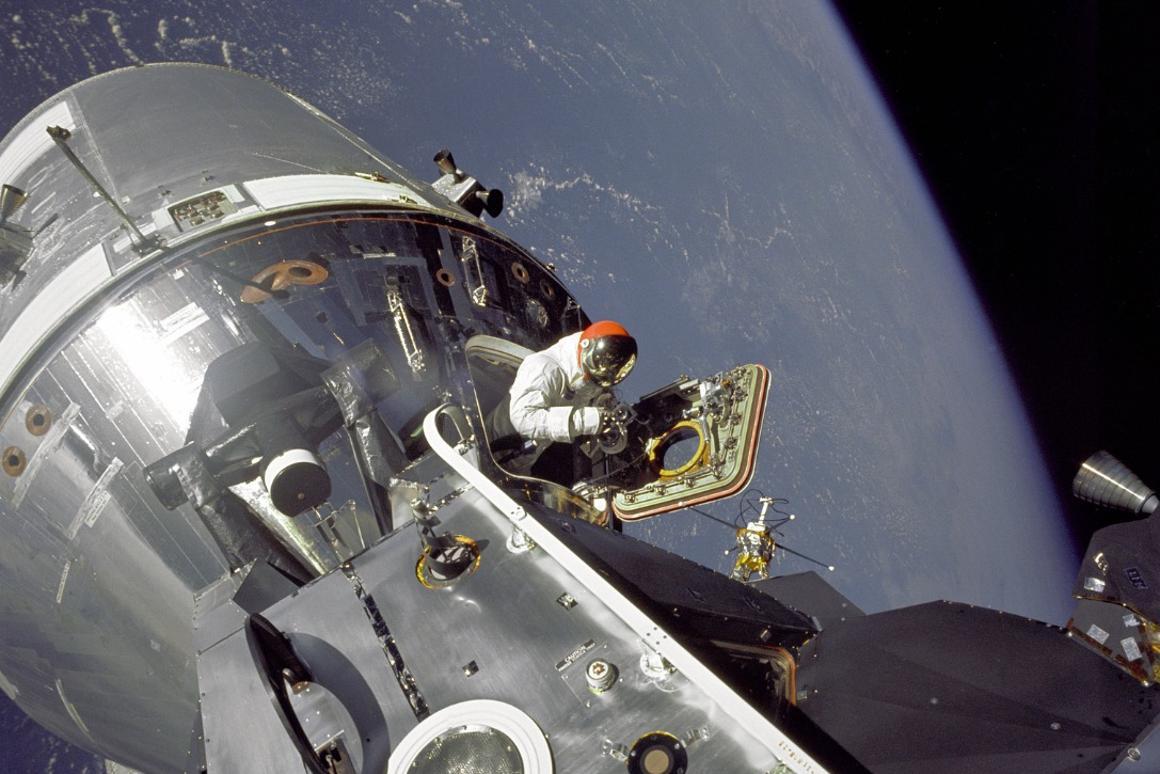 David Scott leaving the Command Module