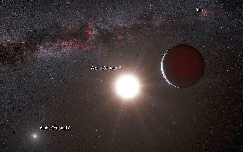 Artist's impression from a point in the Alpha Centauri triple star system, showing the newly discovered planet orbiting around Alpha Centauri B, with Alpha Centauri A in the distance (Image: ESO)