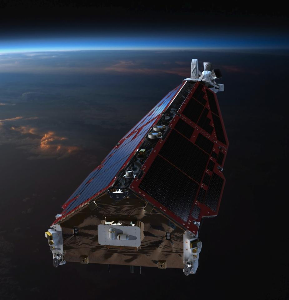 A Swarm satellite, as seen from the front
