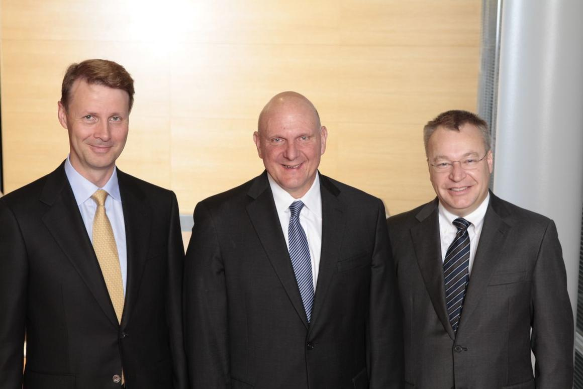 Risto Siilasmaa (left) who will become Nokia's interim CEO, with Steve Ballmer and Stephen Elop (Photo: Nokia)