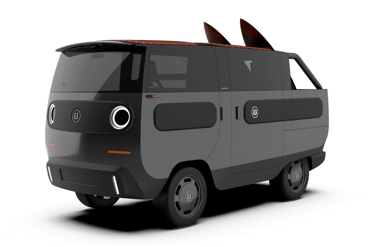 "Another instant favorite, the eBussy ""Open!"" configuration is a cabriolet van/pickup hybrid"