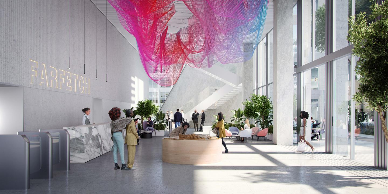 Интериорът на централата на Farfetch ще включва много произведения на изкуството и щедро остъкляване, предназначени да увеличат максимално дневната светлина вътре