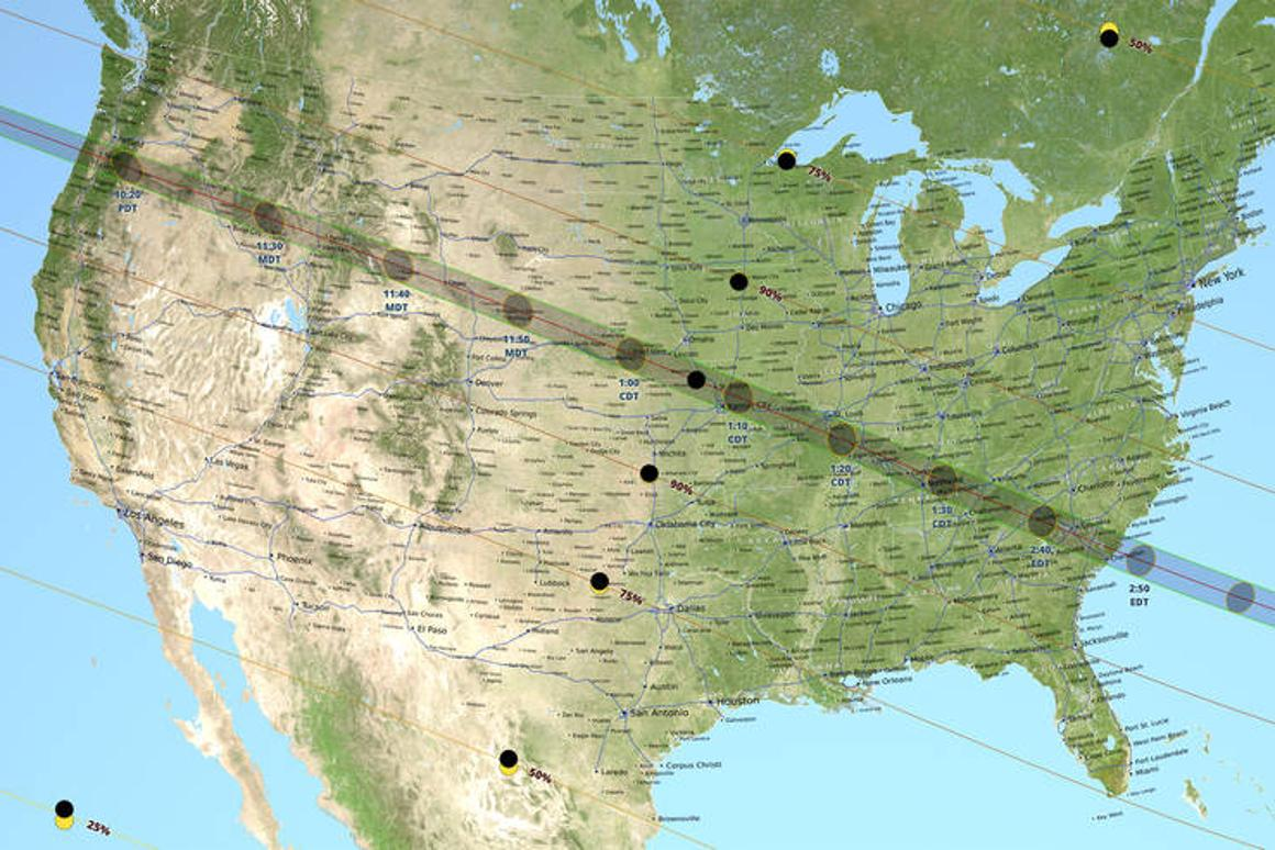 The path of the Moon's shadow moving across the United States during the during this year's total solar eclipse, also known as the path of totality, has been visualized usingdata from the Lunar Reconnaissance Orbiter and Earth-based topography information