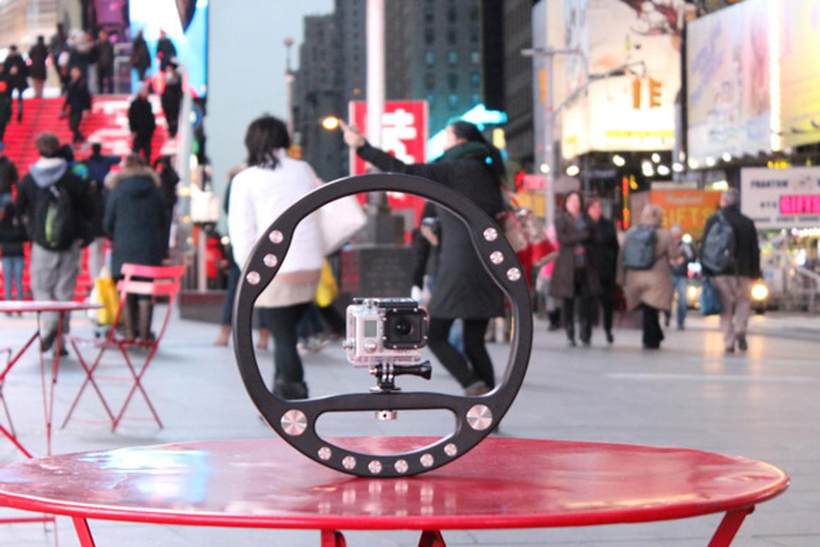 The SteadyWheel is a circular stabilizing rig for video cameras