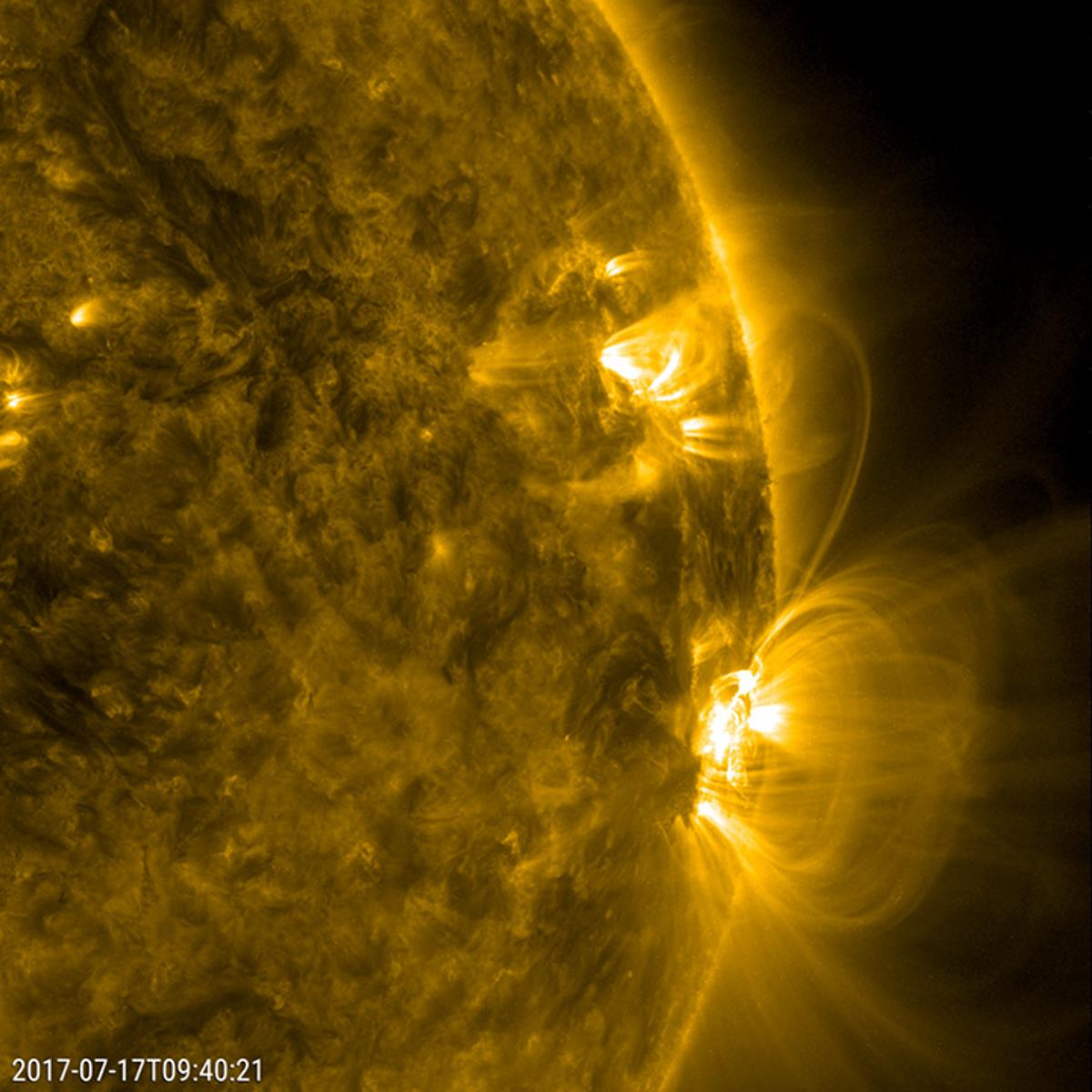 An image showing an active region of the Sun, taken in July 2017 by NASA's Solar Dynamics Observatory