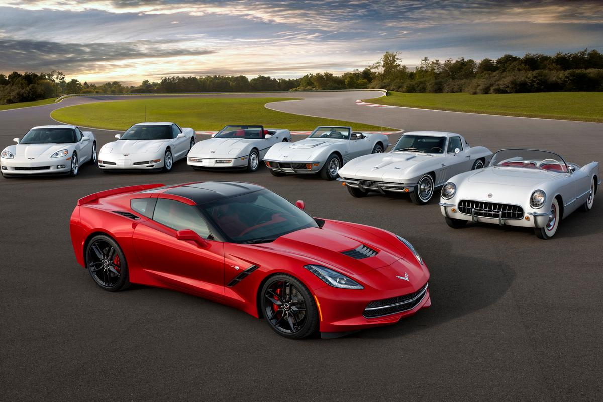 Seven generations of Corvette gathered together © General Motors