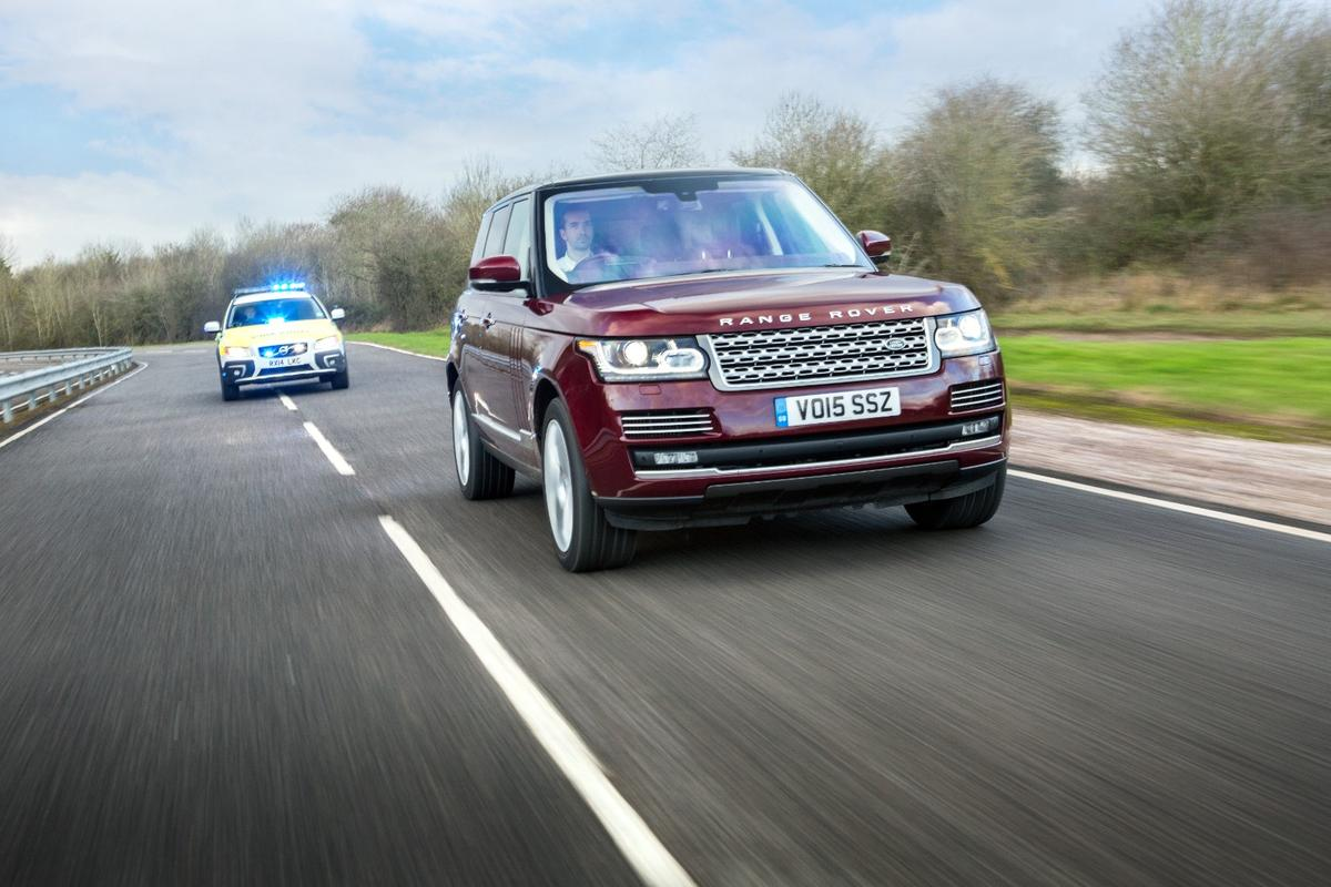 """Jaguar Land Rover's """"Emergency Vehicle Warning"""" system would use car-to-car communication to notify drivers that a connected emergency vehicle is approaching"""