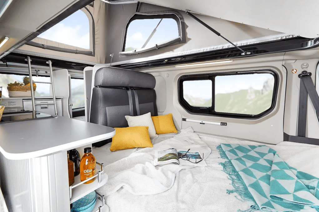 The dinette folds into a double bed