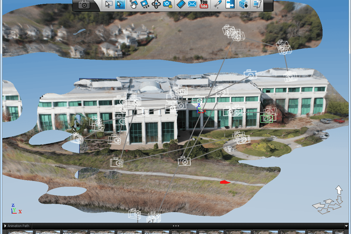 3D model of Autodesk's corporate headquarters as generated from Octocopter photos stitched together by 123D Catch (Image: Autodesk blog)