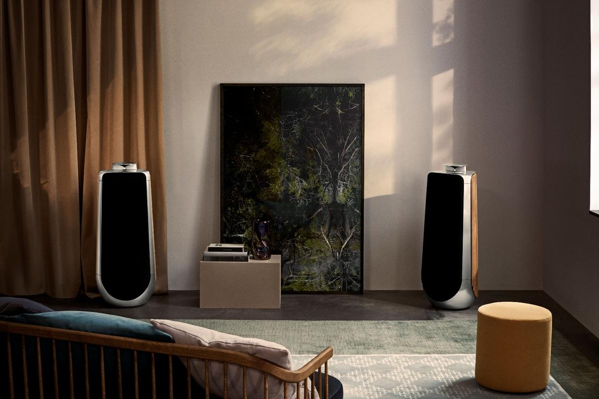 Though smaller than its big brother, the BeoLab 50 active loudspeaker still commands the living room