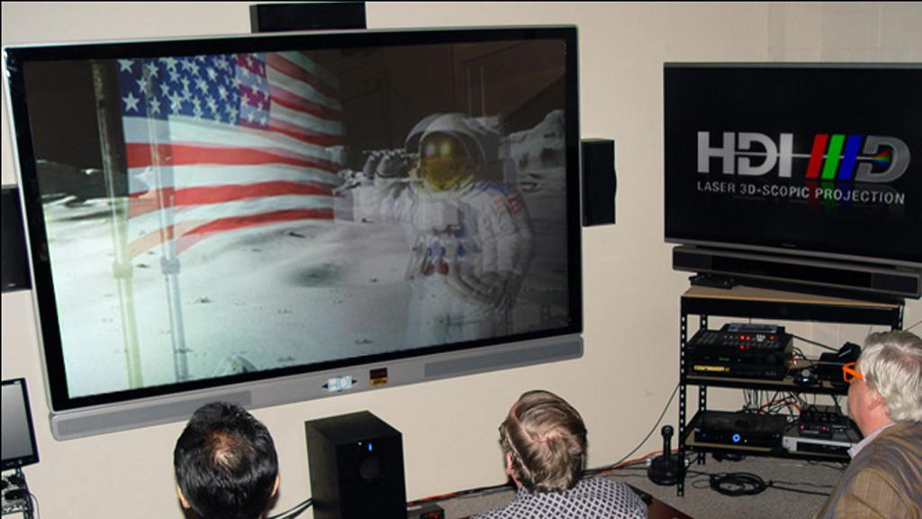 A prototype of HDI's 3D 100-inch 2D/3D stereoscopic 1080p television system
