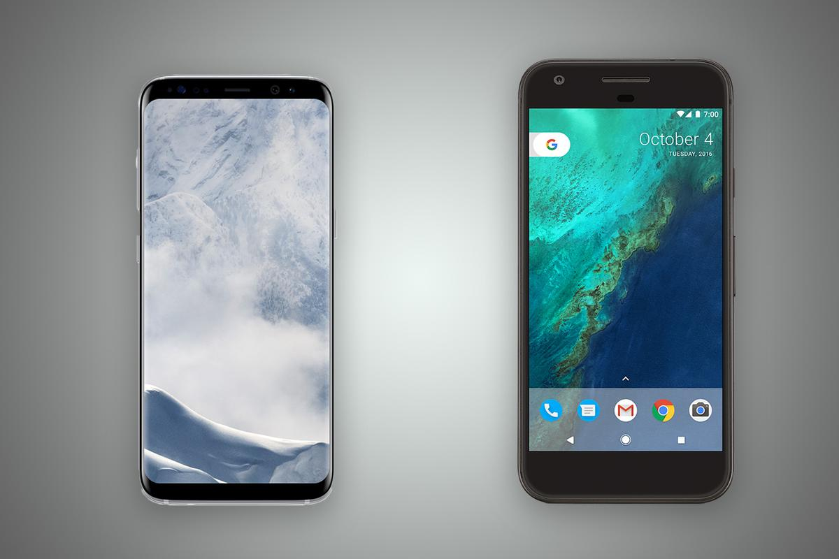 New Atlas compares the features and specs of the Samsung Galaxy S8 (left) and Google Pixel XL
