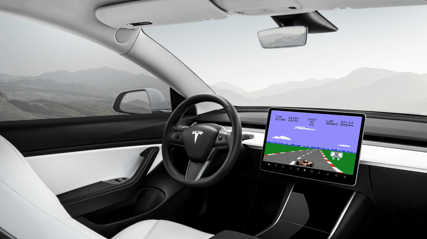 Pole position on your car's touchscreen, controlled by the pedals and steering wheel? Yes please.