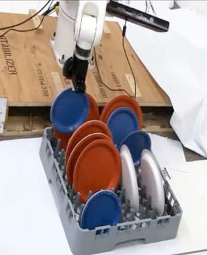 A Cornell robot places dishes in a dish rack