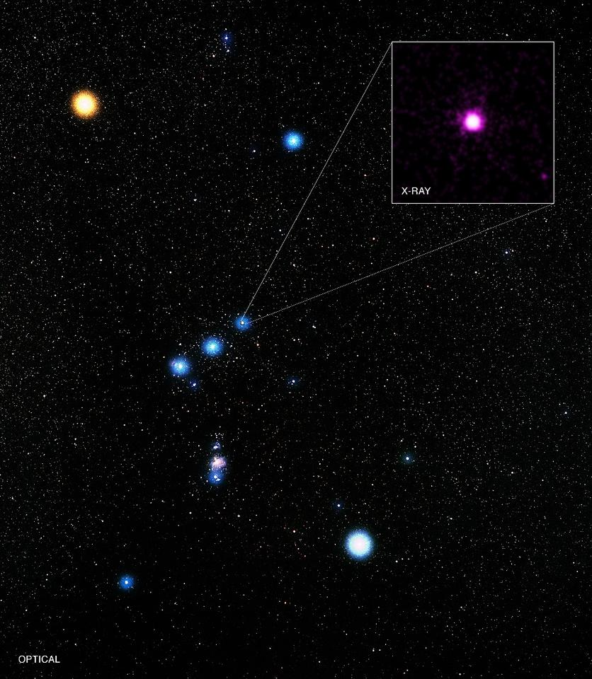 Image of the constellation Orion, with Delta Ori A highlighted in the insert