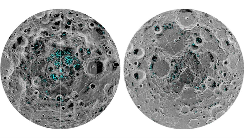 Distribution of surface ice at the Moon's south pole (left) and north pole (right) asdetected by NASA's Moon Mineralogy Mapper instrument